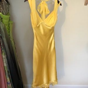 Yellow formal high low dress with open back